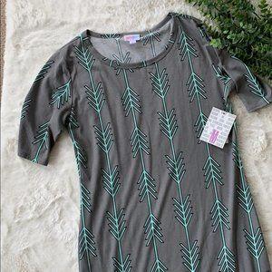 Lularoe Julia Gray and Mint Arrow Dress